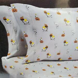 Berkshire Peanuts 4PC Snoopy Halloween Themed Pumpkin Gray Queen Sheet Set A1