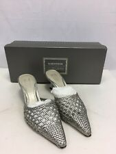 NWT Nordstrom Women's Silver Slip On Pointed Toe Heels Shoes Sz 5M