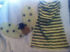 COSTUME Yellow Black Glitter Bumble Bee Wing Tube Top Dress Halloween Mardi Gras