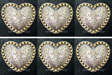 """Set of 6 WESTERN HORSE TACK ANTQIUE HEART GOLD BERRY SADDLE CONCHOS 1-1/2"""""""