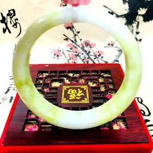 Handmade Natural Light Yellow HQ AAA+ JADE Jadeite Bangle Bracelet Women UK
