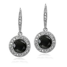 Silver Tone Black & Clear Swarovski Elements Halo Dangle Lever back Earrings