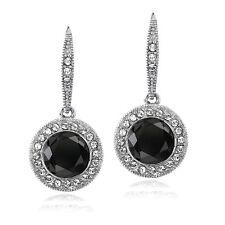 Silver Tone Black & Clear Swarovski Elements Halo Dangle Lever back Earrings