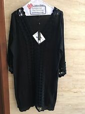 NWT Spiaggia Dolce Black Tunic Cover Up Crochet Detail Beach Swim Sz M