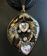 Bronze Plated Black Organza Cord Glazed Enamel Rhinestone Necklace New FREE POST