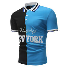 Hot Sale Patchwork Colorblock Embroidery Polo Shirt - Blue