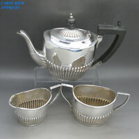 ANTIQUE VICTORIAN NICE SOLID STERLING SILVER 3PS BACHELORS TEASET SHEFFIELD 1900