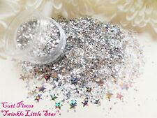 Nail Art *Twinkle Little Star* Holographic Silver Stars Hexagon Glitter Mix Pot