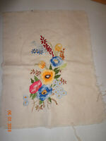 Vintage Finished Needlepoint Crewel Embroidery Floral Piece