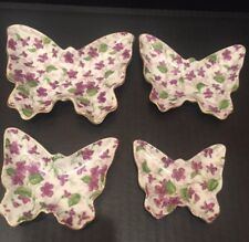Vintage 4 Different Size Butterfly Candy Dishes Set Japan Purple Floral