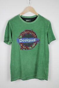 Desigual 47T1418 Homme Grand Vert Délavé Court Manche Logo T-Shirt 38349