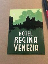"""Vintage Unused Luggage Label / Hotel Regina Venezia / 4"""" Tall"""