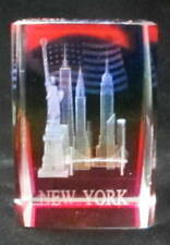 """New York Souvenir NYC Skyline 3D Crystal Laser Etched Glass Paperweight RB 2""""x1"""""""