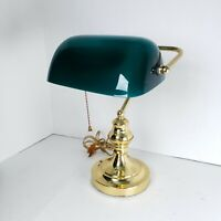 "Vintage Teal Glass Shade Gold Brass Bankers Piano Desk Lamp 14"" Mid Century"