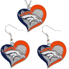 Denver Broncos Fashion Jewelry Set Necklace-Earrings Team Logo Licensed NFL