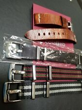 Colareb Roma Leather 20mm and BluShark Nato Strap AlphaShark Bond Vintage LOT