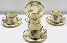 MacKenzie Childs Floral Rose Enamelware Set of 4 Coffee Tea Cups Mugs Saucers