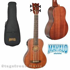 MAHALO MEAB1 BASS UKULELE ELECTRIC/ACOUSTIC W/ AQUILA STRINGS AND PADDED GIG BAG