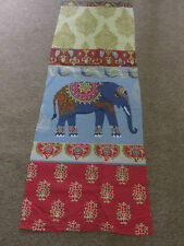 Indian Elephant Elephants red gold duck egg blue remnant fabric piece 80x30cm