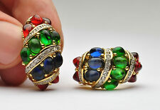 Nina Ricci Gripoix Glass Emerald, Ruby, Sapphire, Mogul Clip Earrings