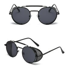 Vintage Retro Punk Rock Sunglasses Side Shield Goggles Metal Cyber Round Glasses