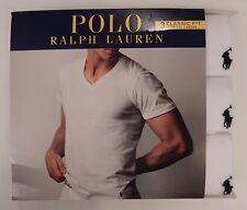 3 POLO RALPH LAUREN MENS XXL 2XL COTTON BLACK WHITE GRAY BLUE V NECK T SHIRTS
