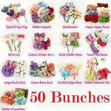 50 racimos A GRANEL MAYORISTA Mini Craft Scrapbooking Púas Flores Artificiales