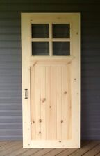 """36"""" X 84"""" Solid Wood Pine Rustic Vintage Farmhouse Sliding Barn Door with Glass"""