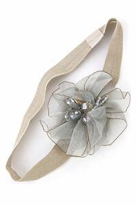 SCHNÄPPCHEN Haarband Haarschmuck Tüll Blume Perlen Kristall Grün Pfirsich