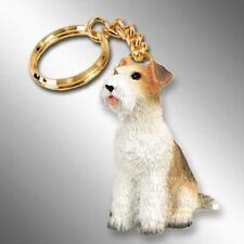 Wire Haired Fox Terrier Dog Tiny One Resin Keychain Key Chain Ring