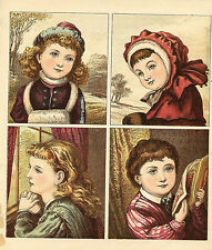 PRETTY VICTORIAN GIRLS CHILDREN CLOTHES ANTIQUE LITHOGRAPH PRINT 1886