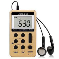 Portátil Mini FM/AM 2 Band Radio receptor de radiodifusión recargable+auricular