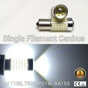 Rear Signal Light 1156 BA15S 7506 3497 P21W 144 SMD 6K White LED Bulb M1 M