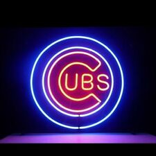 """MLB CHICAGO CUBS BASEBALL OLD STYLE JERSEY CAP BEER BAR NEON LIGHT SIGN 11""""X11"""""""