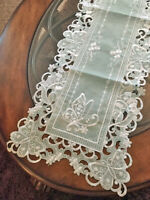 "Beautiful Embroidered Butterfly Organza Table Runner Dresser Scarf 68"" L Seafoam"