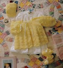 Baby Crochet Pattern Copy Layette in 3 ply jacket bonnet bootees