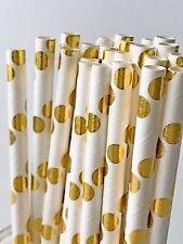 200 Gold Polka Dot Paper Straws Birthday Wedding Straw Cake Pop Sticks