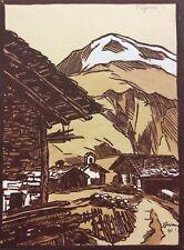 Tignes Haute-Savoie bois gravé et aquarelle  circa 1941 Vanoise