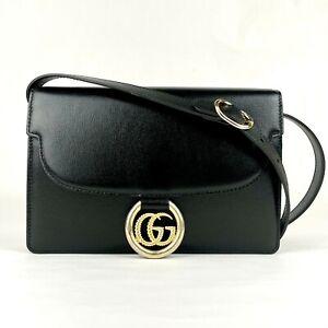 Gucci Black Leather Flap Tote Shoulder Bag with Gold Interlocking G 589474 1000