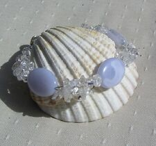 "Blue Lace Agate & Clear Quartz Crystal Gemstone Beaded Bracelet ""Wisp"""