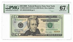 2009 $20 NEW YORK FRN, PMG SUPERB GEM UNCIRCULATED 67 EPQ BANKNOTE