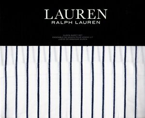 Ralph Lauren Queen Sheet Set Spencer Stripe Navy Sateen 4pc Nautical Beach 230TC