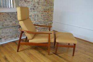 Arne Vodder for France & Son FD-164 Danish Modern Teak Lounge Chair with Ottoman