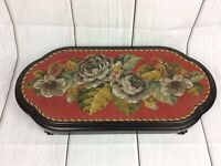 ANTIQUE VICTORIAN EBONISED BEADWORK & WOOLWORK FLORAL EMBROIDERY STAND c1860