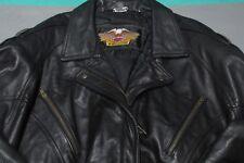 Harley Davidson Women's Black Leather Motorcycle Jacket Small Tassels MINT