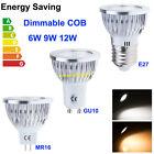 1/10/20X Dimmable 6W 9W 12W MR16/GU10/E27 CREE LED COB Bombilla Spot Lights Lamp