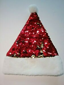 Santa Hat - Red and Gold Flip Sequins - Holiday Christmas House
