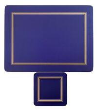 Set de 6 Azul Dorado Bordeado Clásico Dorso de Corcho