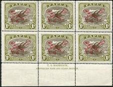 PAPUA: 1930 (SG.117) 1/- AIR MAIL overprint, Harrison imprint block of 6, MUH.