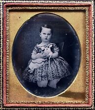 Rare Early 1/6 Plate Daguerreotpe - 1850's Child Holding A Rare Milliners Doll